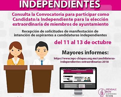CONVOCA IEPC A PARTICIPAR CON CANDIDATURAS INDEPENDIENTES EN 10 MUNICIPIOS CON ELECCIONES EXTRAORDINARIAS